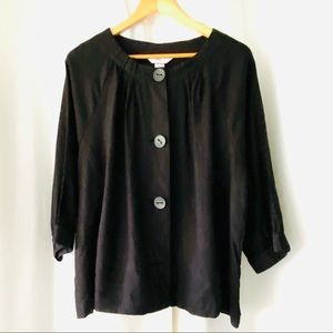 CJ Banks Lightweight Black Linen Jacket Plus Sz 2X